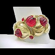 Spectacular Kunio Matsumoto Red Lucite Flower Bracelet