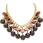 04 - Kristy Lee Artisan Necklace - Large Simulated Wood Beads - Fringe Style