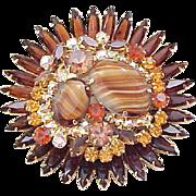 Juliana Massive Brooch, Earrings  - Striped Stones, Rhinestones