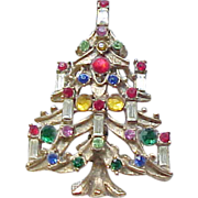 Unusual Candle Tree Christmas Pin