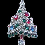 Rhinestone Candle Tree Christmas Pin