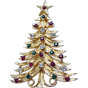 Stately Christmas Tree Pin Mylu - Red, Green, Diamante RS