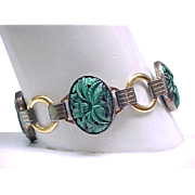 Fabulous GF Bracelet with Carved Malachite Links - Gold Filled