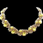 Mid Century Trifari Yellow Pebble Beach Bracelet, Necklace - Lovely