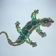 Czech Lilien Gecko Rhinestone Brooch