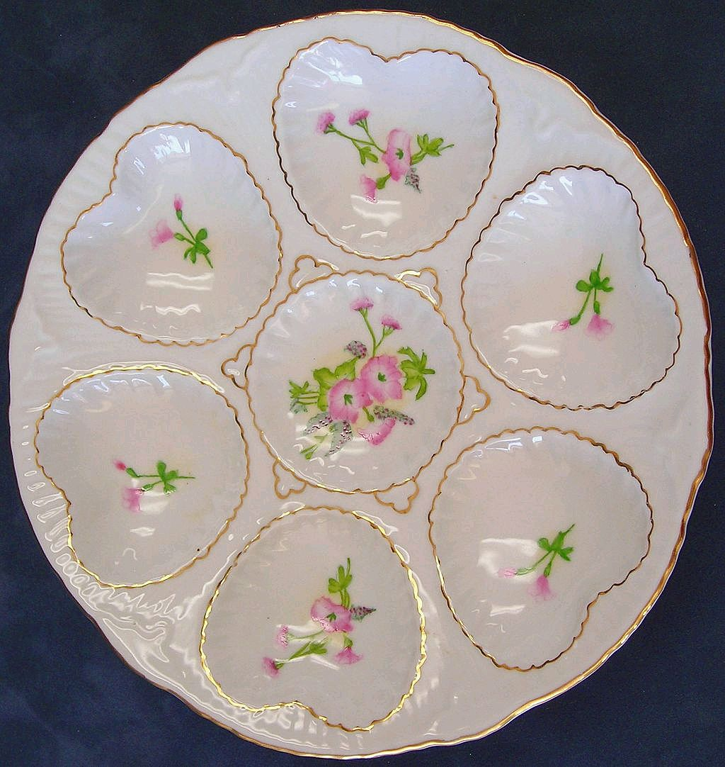 Limoges Oyster Plate with Pink Flowers