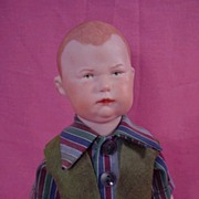 Heubach Bisque Boy Doll with Vintage Clothes