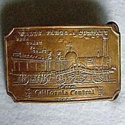 Bronze Wells Fargo Train Belt Buckle Marked Tiffany