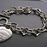 Silver Bracelet w/ Heart Charm Marked 'Tiffany'