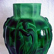 Jade Czech Glass Dance Vase