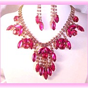 Fuchsia and Pink Rhinestone Necklace and Earrings