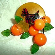 Scottie Dog Bakelite Brooch with Fruit Dangles
