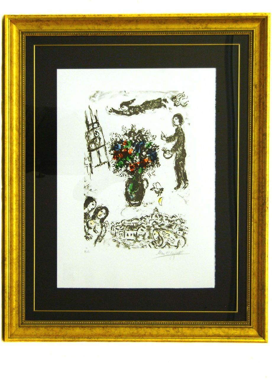 """Marc Chagall Signed and Numbered Lithograph """"Bouquet Over the Town"""""""