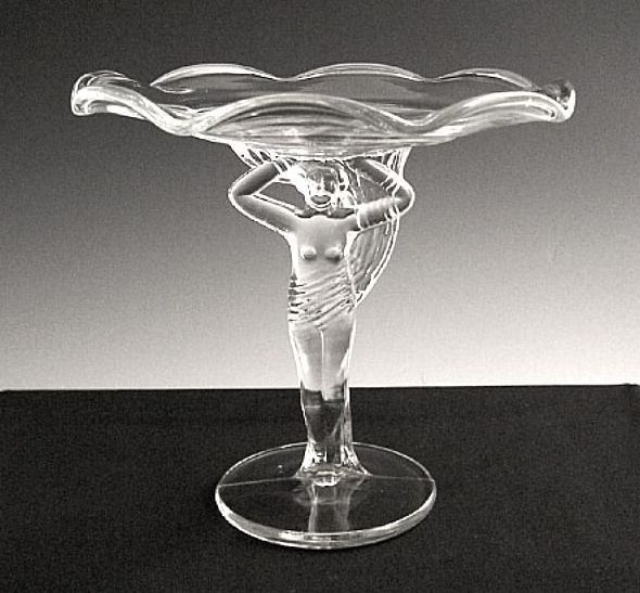 Art Deco Style Lady Figural Pedestal Compote