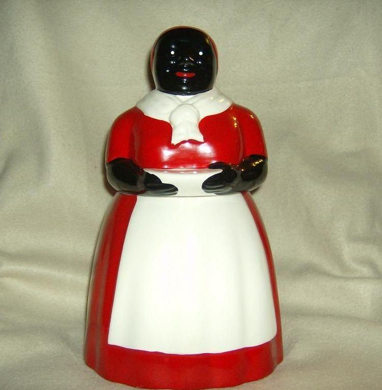 Red and White Ceramic Aunt Jemima Cookie Jar