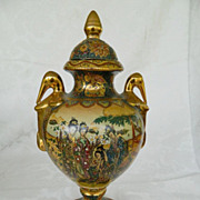 Covered Urn Hand painted with Ladies in Garden Marked Satsuma
