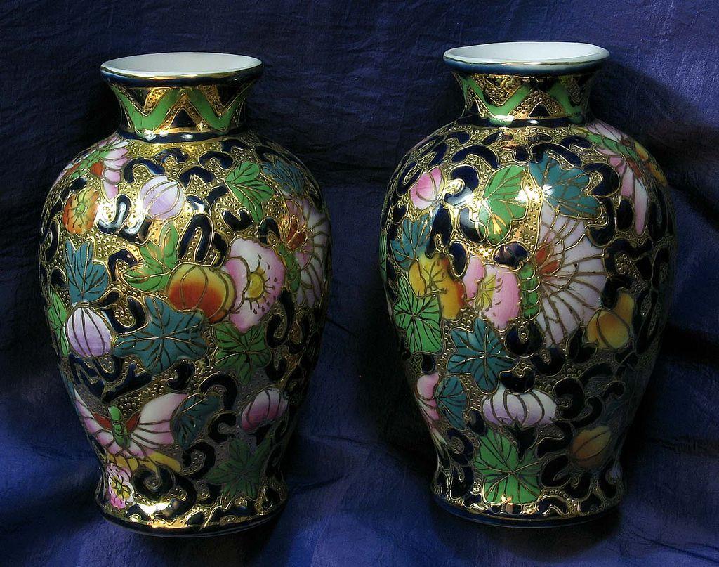 Pair of Vases Stamped Satsuma