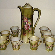 Chocolate Pot Set with Eight Matching Cups Marked Nippon