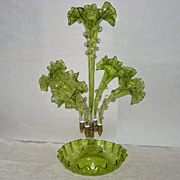 Green Five Lily Italian Glass Epergne with Applied Decoration