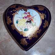 Heart Shaped Limoges Cobalt Blue Trinket Box - P.R.C
