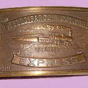 Wells Fargo Express Belt Buckle RR Train Bronze - E. Gaylord, Chicopee