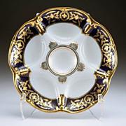 Gilt Cobalt Oyster Plate Marked Limoges