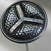 Iridescent Black Glass Triad Design Hatpin