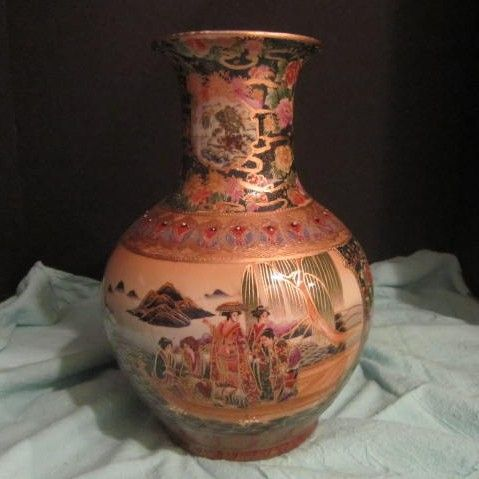 Porcelain Satsuma Hand Painted Vase of Women on a Boat