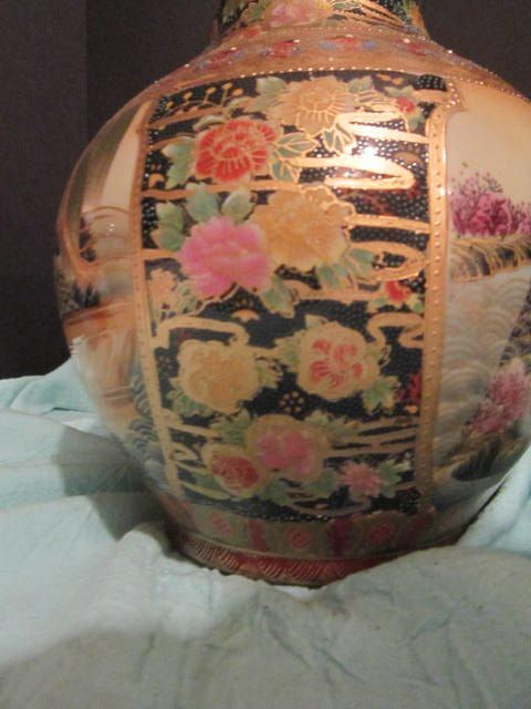 Porcelain Satsuma Hand Painted Vase Of Women On A Boat From Rlreproshop On Ruby Lane
