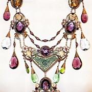 Czech SBK Art Nouveau Necklace with Image Pendant