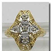 Edwardian Ornate 10K Gold Filigree 5 Diamond Ring
