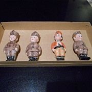 Set of 4 All Bisque in Military Costume