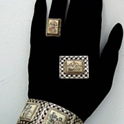 Vintage Asian-Style Parure: Orig. Box. Figural