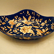 19th C Hand Painted Lozenge Shaped Bowl, Cobalt and Gold