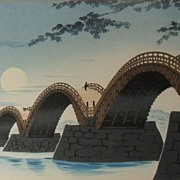 Japanese Woodblock Kintai-bashi Bridge