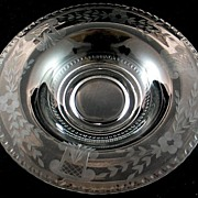 Large Bowl with etched Flowers