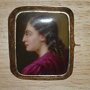 Painted Portrait Brooch of Lady in Profile-Etched Gold Frame