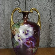Gorgeous Hand Painted Muscle Vase. J Pouyat Limoges