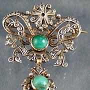 Georgian? Diamond Emerald Pin