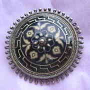 Fabulous Early David Andersen Enamel Silver Pin, 1885
