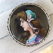 Lovely Enamel Silver Portrait Pin