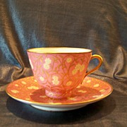Hand Signed Rose And Gilt Tea Cup And Saucer, Paris