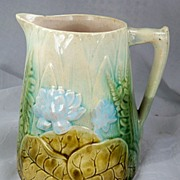 Estate Vintage Pitcher with Lotus & Fern AWESOME Piece!