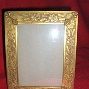 Wonderful Art Nouveau Brass Picture Frame With Orchids Marked