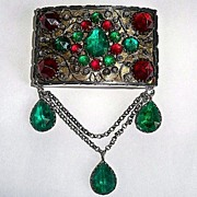 Antique Silver Brooch w Red & Green Rhinestones & Fancy wire work