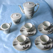 Fukagawa Arita Hand-painted 13 pc Porcelain Tea Set Japan Landscape