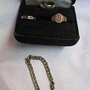 Three Pc. Baby Bracelet, Two Rings 1920's