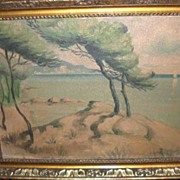 Beautiful Antique Oil Painting Asian Influence Seascape