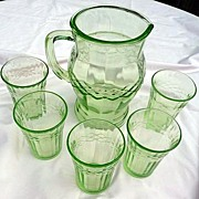 Green Depression Pitcher & 5 Tumblers