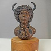 """1984 Virginia Taylor Bronze Sculpture """" Buffalo Warrior"""""""